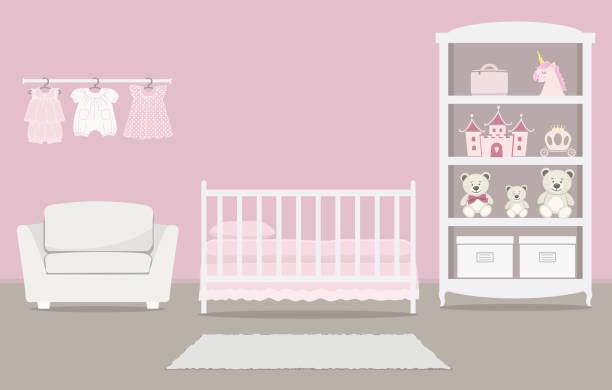 ilustrações de stock, clip art, desenhos animados e ícones de pink bedroom for a baby girl. kid's room for a newborn baby. interior - unicorn bed