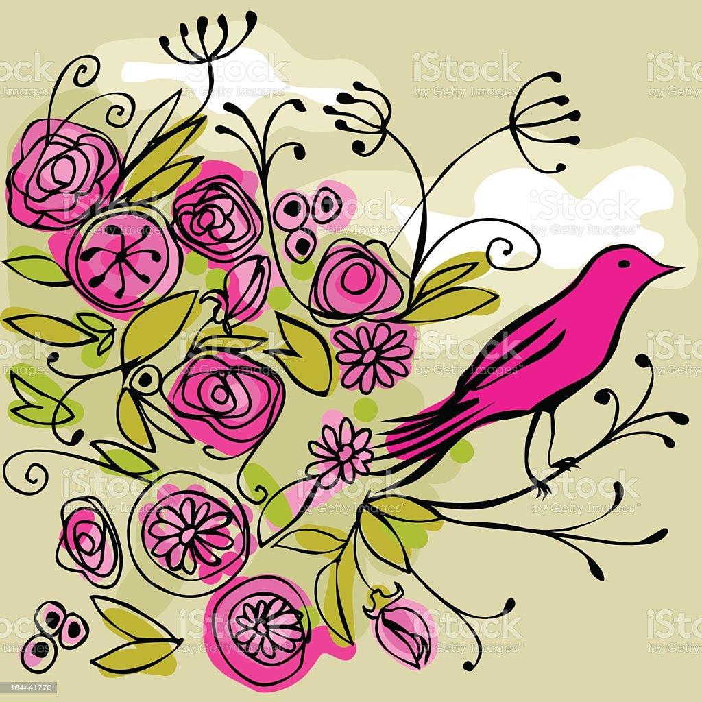 pink bird on a flowery branch vector art illustration