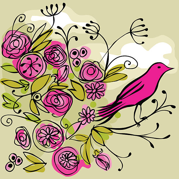 pink bird on a flowery branch vector art illustration