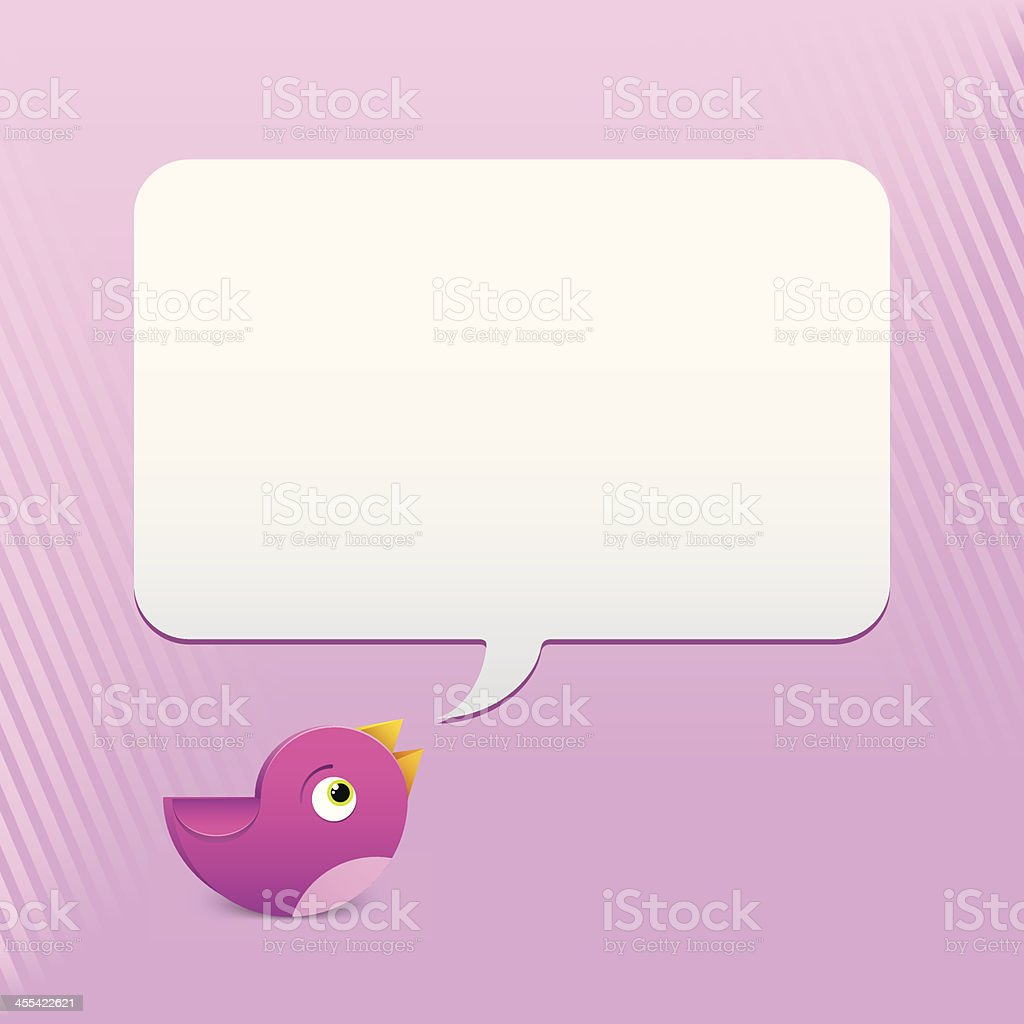 Pink Bird Talking royalty-free stock vector art