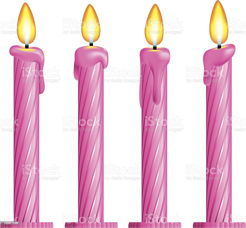 Pink birthday candles royalty-free stock vector art