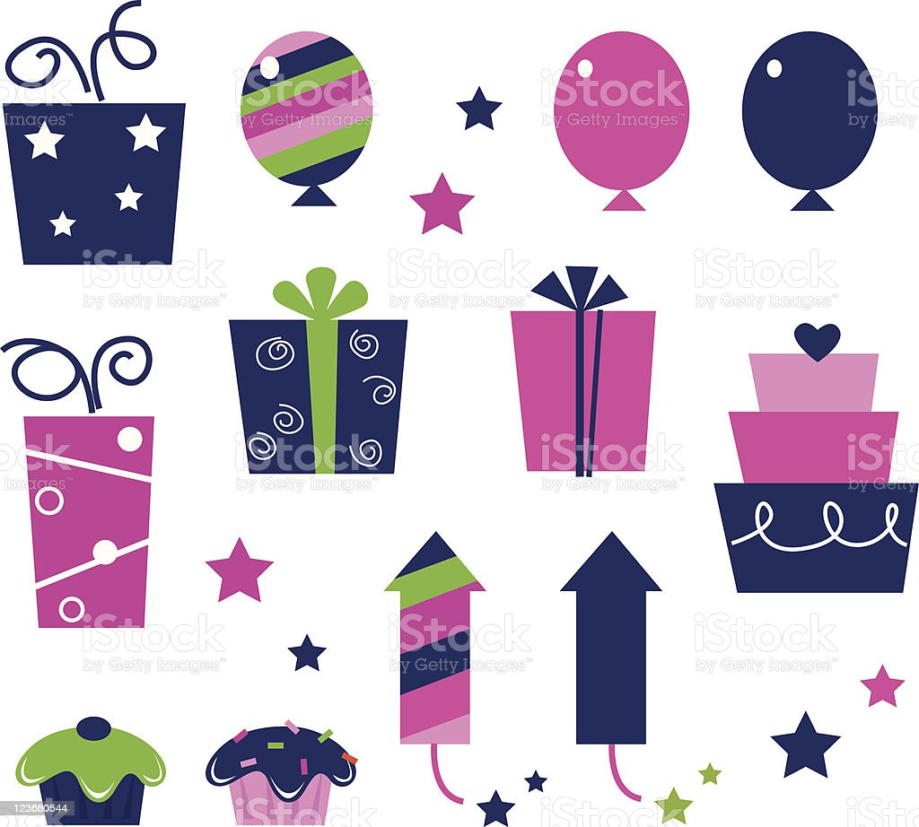 Pink Birthday party icons and elements isolated on white royalty-free stock vector art