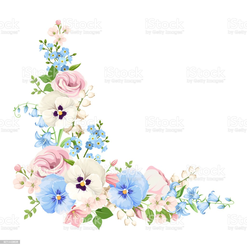 Pink Blue And White Flowers Vector Corner Background Stock Vector