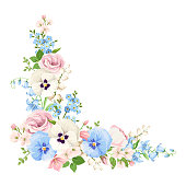 Pink, blue and white flowers. Vector corner background.