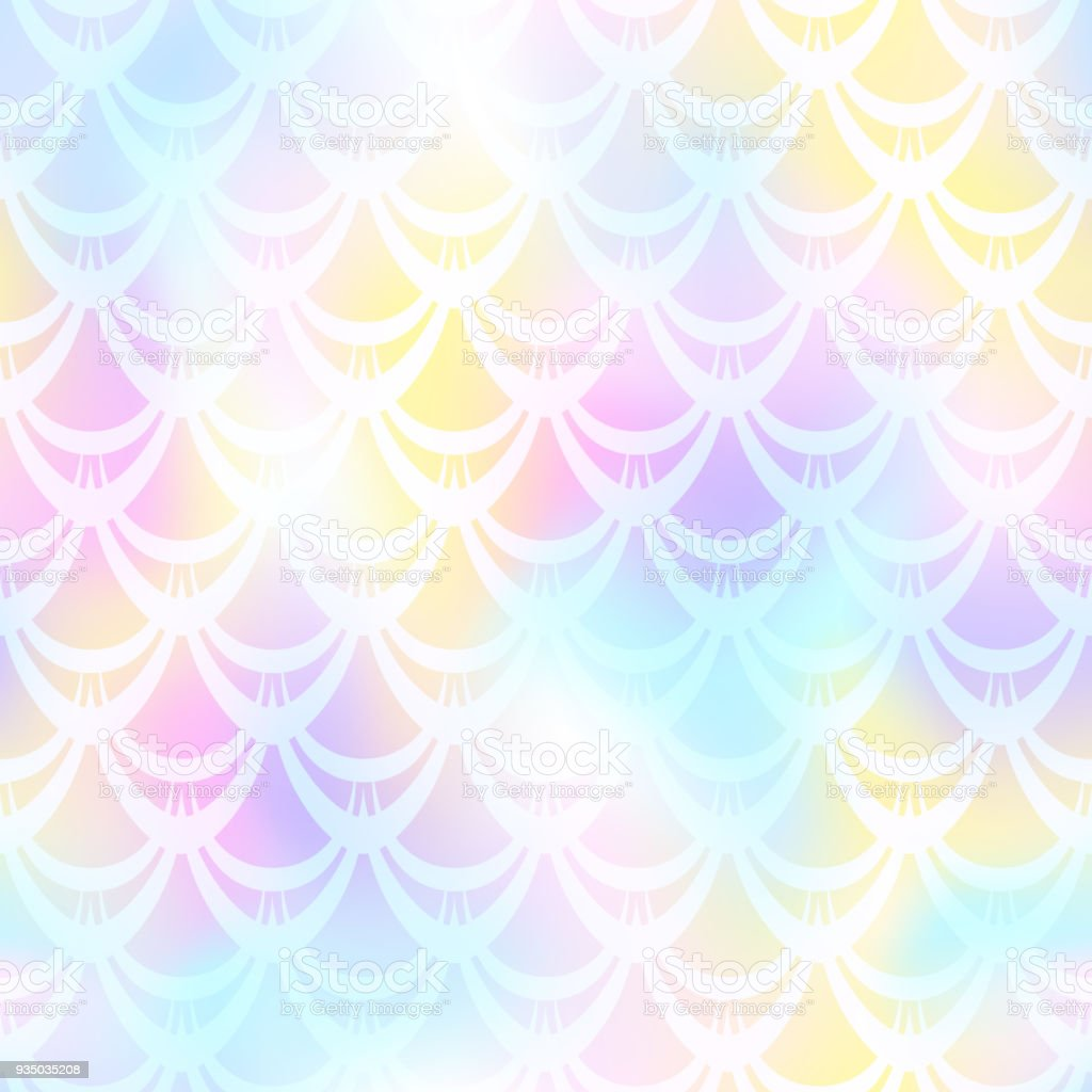 Pink blue mermaid scale vector background. Pastel iridescent background. Fish scale pattern. vector art illustration