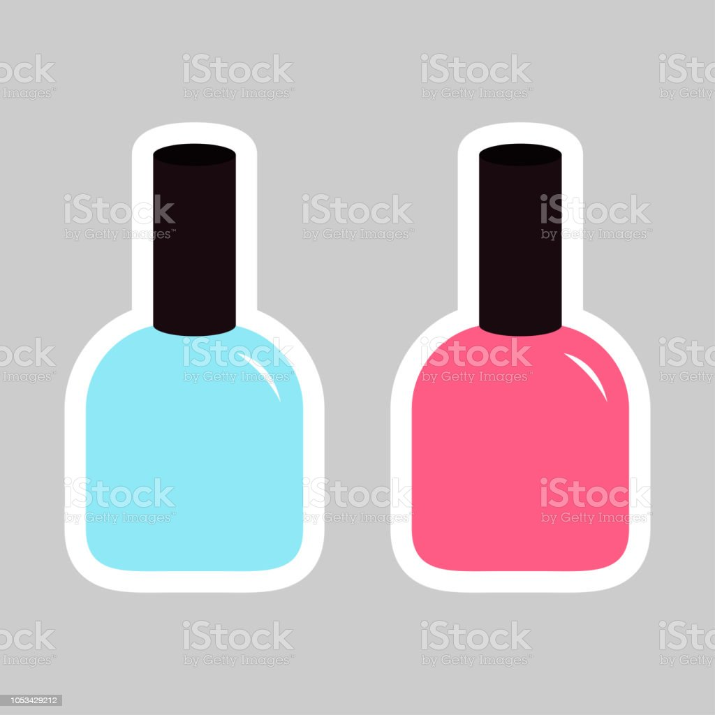 Pink Blue Nail Polish Varnish Sticker Icon Set Gray
