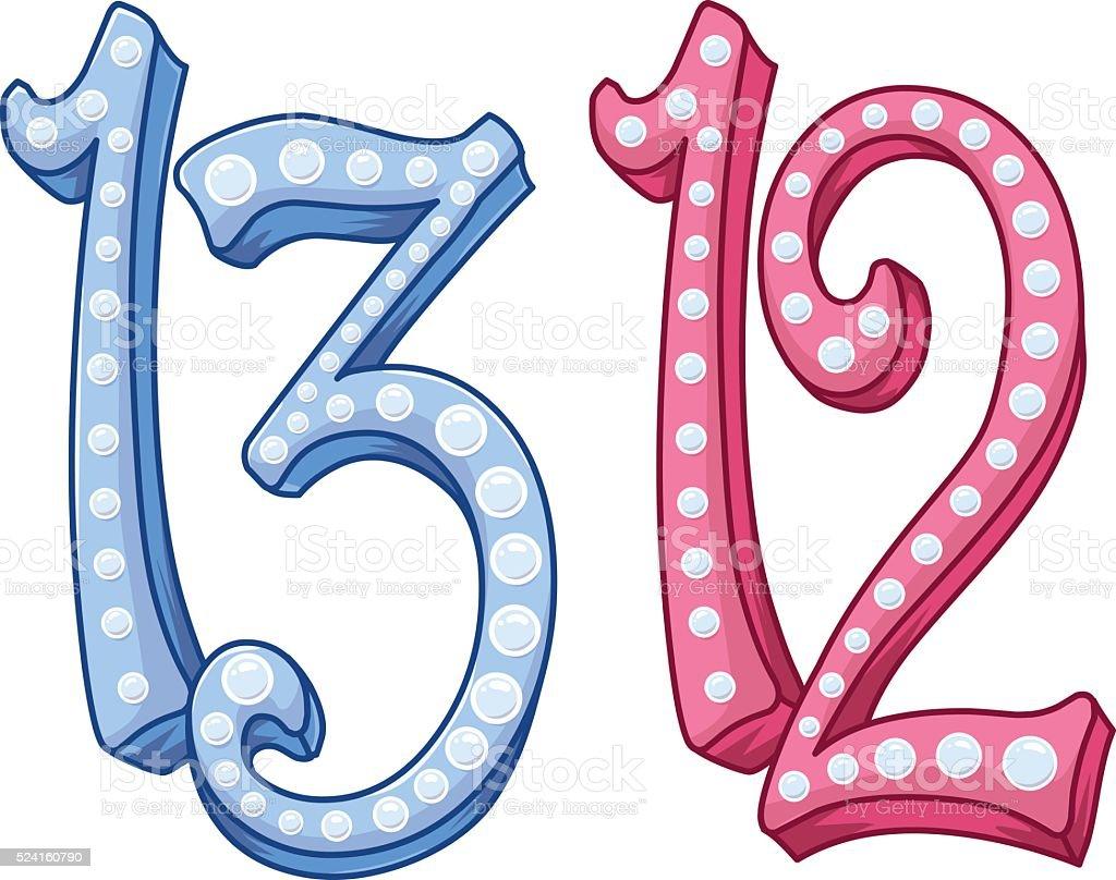 Pink Blue Shiny Number 12 13 For Bar Bat Mitzvah vector art illustration