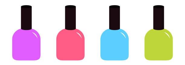 Pink blue violet, green nail polish varnish icon set line.Fashion Template. Flat design. White background. Isolated. Pink blue violet, green nail polish varnish icon set line.Fashion Template. Flat design. White background. Isolated. Vector illustration white nail polish stock illustrations