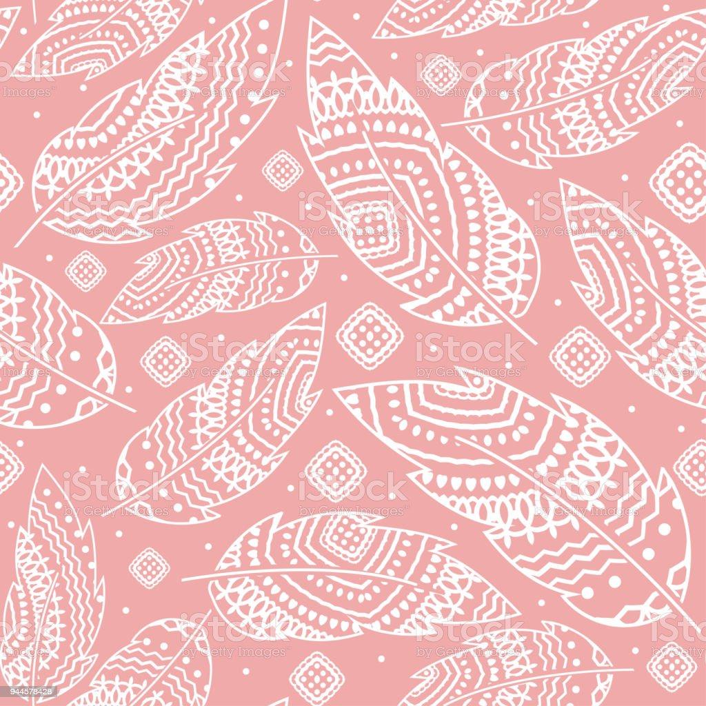 Fond rose Bohème avec plume blanche, modèle sans couture, ornement tribal ethnique, illustration détaillée, dessinés à la main - Illustration vectorielle