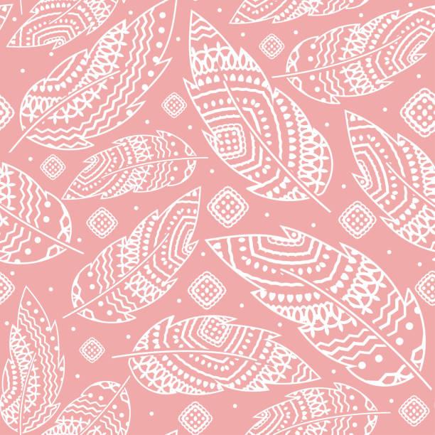 rosa boho hintergrund mit weißen feder, nahtlose muster, ethnische tribal ornament, detaillierte darstellung, wie von hand gezeichnet - boho stock-grafiken, -clipart, -cartoons und -symbole