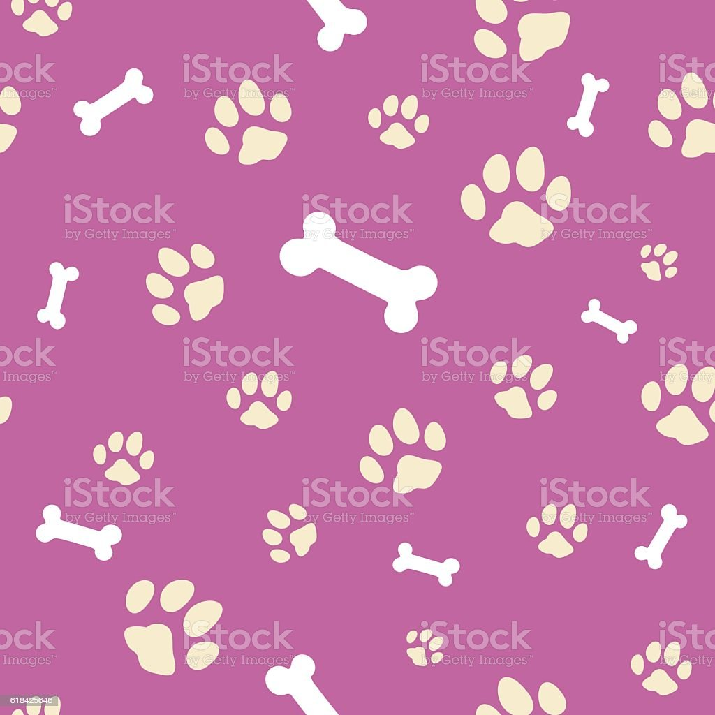Pink bone and paw texture vector art illustration
