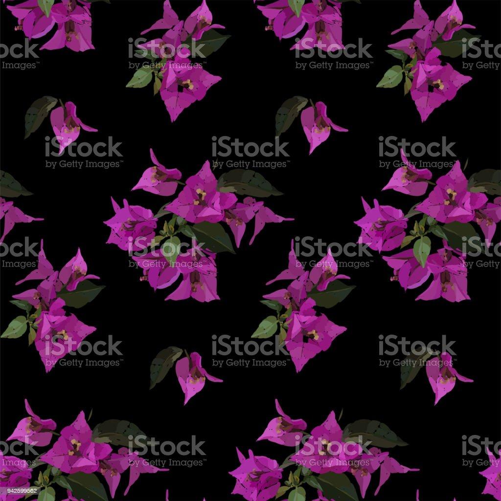 Pembe Begonviller seamless modeli. Botanik illüstrasyon elle çizilmiş. Vektör çiçek tasarım moda için baskı, karalama defteri, kağıt ambalaj. vektör sanat illüstrasyonu