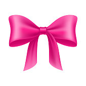 Pink bow cartoon isolated