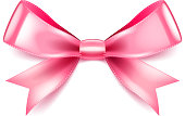 Pink bow isolated on white vector