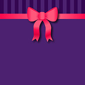 Vintage background. Vector illustration of a pink silk bow on a striped retro background. The large copy space makes it ideal for invitations, cards, covers... Easy to modify, global colors, EPS 10. The file contains drop shadow.