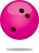 Vector illustration of a shiny pink bowling ball