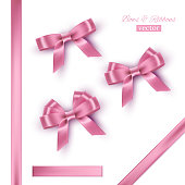 Pink bows and ribbons. Vector realistic design elements set.