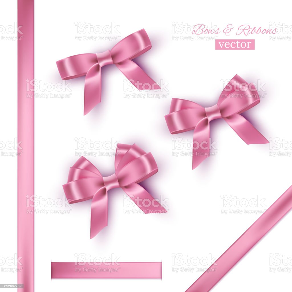 Pink bows and ribbons. Vector realistic design elements set. vector art illustration