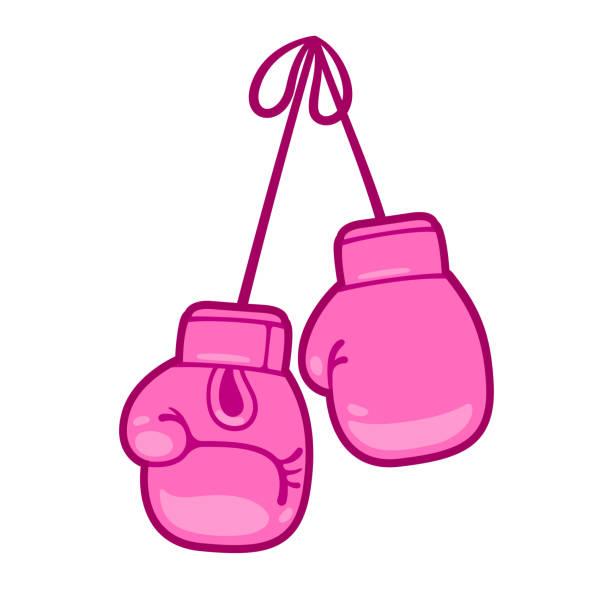 ilustraciones, imágenes clip art, dibujos animados e iconos de stock de guantes de boxeo color rosa - boxeo deporte