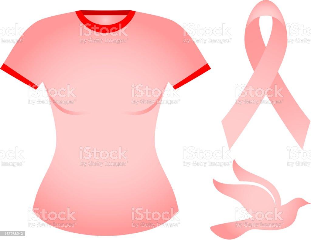 pink breast cancer awareness t-shirt royalty-free stock vector art