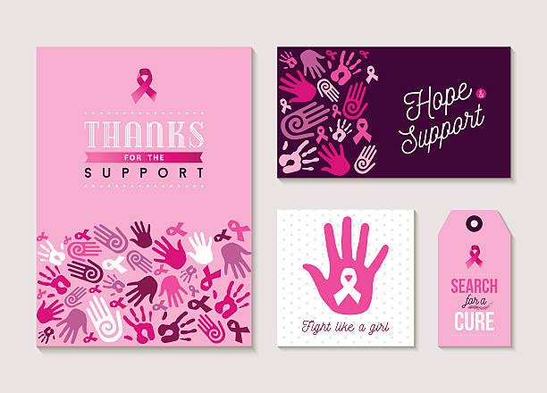 ilustrações, clipart, desenhos animados e ícones de pink breast cancer design set for awareness - pink october