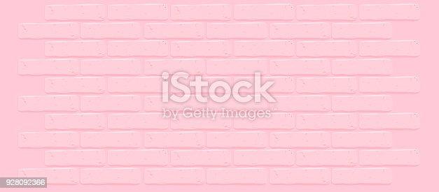 Pink brick wall texture.Cracked empty background. Grunge sweet wallpaper. Vintage stonewall.