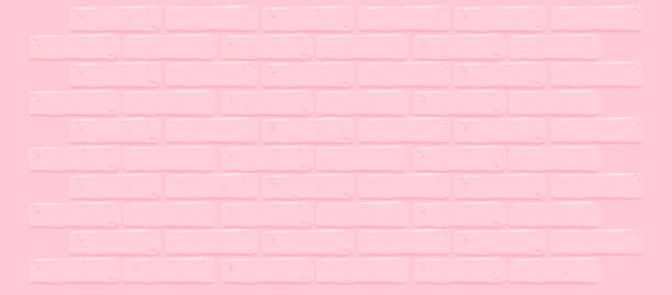 Pink brick wall texture.Cracked empty background. Grunge sweet wallpaper. Vintage stonewall. Room baby girl design interior. Princess surface for decoration. Backdrop for cafe, nursery. Illustration bedroom stock illustrations