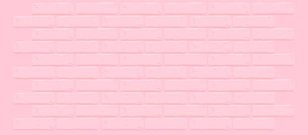 stockillustraties, clipart, cartoons en iconen met roze bakstenen muur textuur. gebarsten lege achtergrond. grunge zoete behang. vintage stonewall. - schoolmeisje