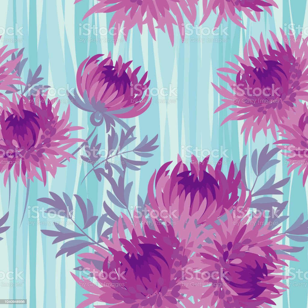 Pink Bright Autumn Flowers Seamless Pattern Stock Vector Art More