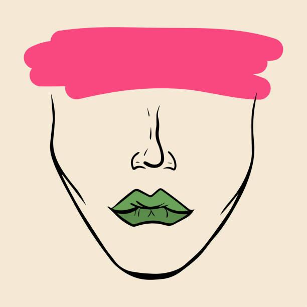 illustrazioni stock, clip art, cartoni animati e icone di tendenza di pink brushstroke on face - donna si nasconde