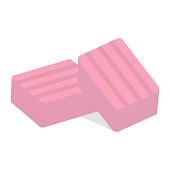 istock Pink bubble gum block piece 1332463683