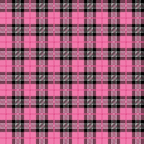 stockillustraties, clipart, cartoons en iconen met roze buffalo geruite naadloze patroon - schooluniform