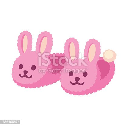 istock Pink bunny slippers 636406574