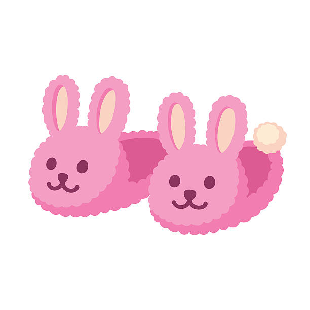 Pink bunny slippers Pair of fuzzy bunny home slippers. Cute pink rabbit shoes cartoon vector illustration. fluffy stock illustrations