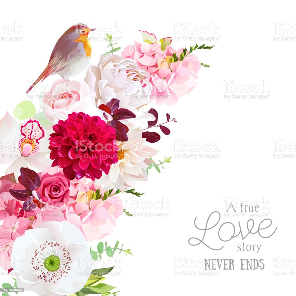 Pink Burgundy Red And White Spring Wedding Flowers Stock Vector Art