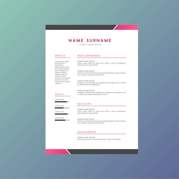 pink business corporate identity resume cv vector design - business cv templates stock illustrations