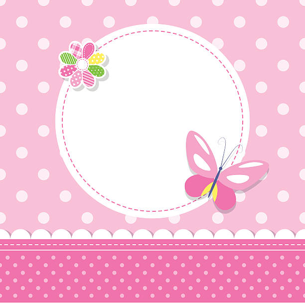 pink butterfly baby girl greeting card illustration of a butterfly, colorful flower, round label and ribbon on pink polka dot pattern background girls stock illustrations