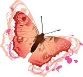 Vector of pink butterfly