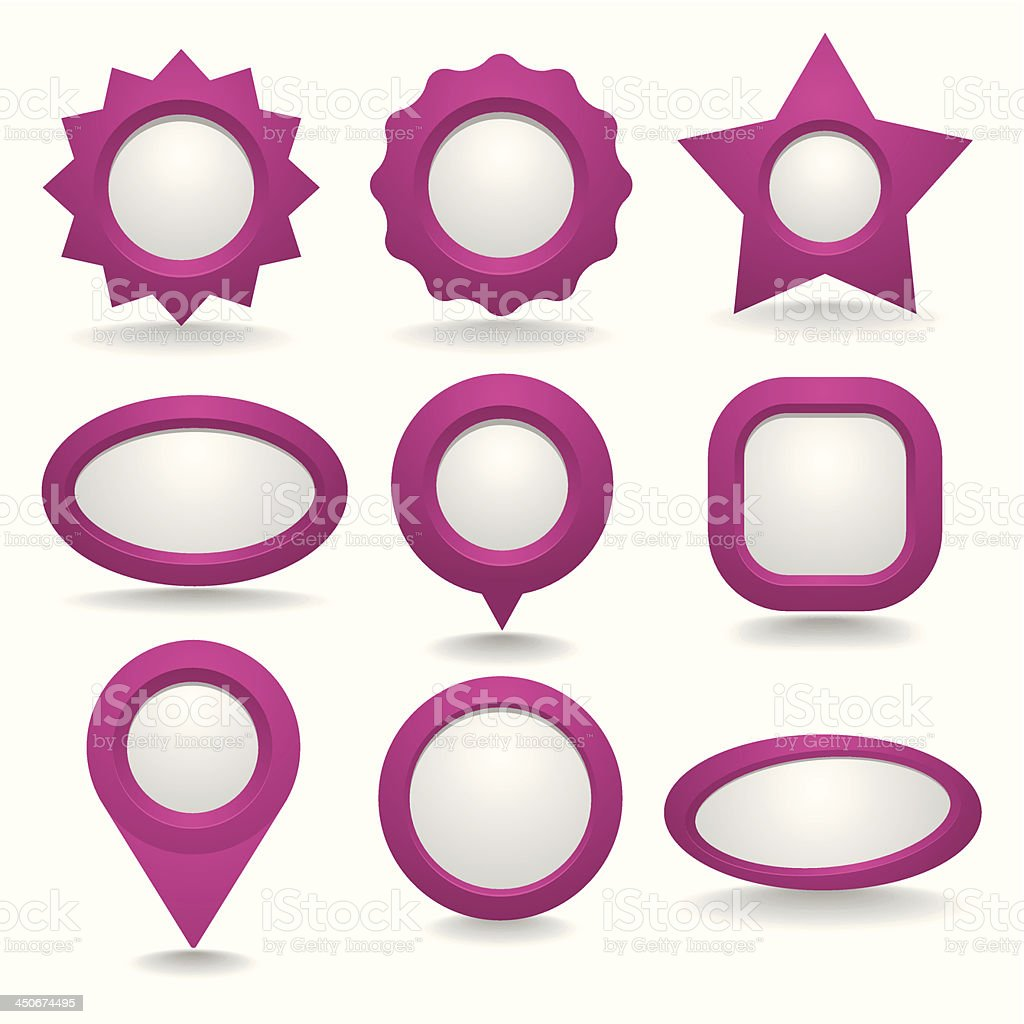 Pink button collection with grey copyspace royalty-free stock vector art