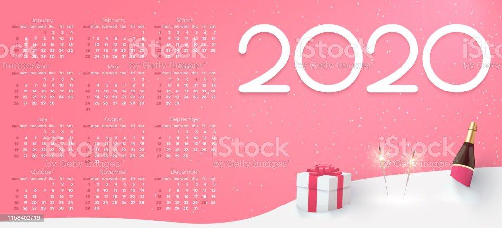 Calendario Rosa 2020.Ilustracion De Calendario Rosa Para 2020 Ano Con Regalo Y