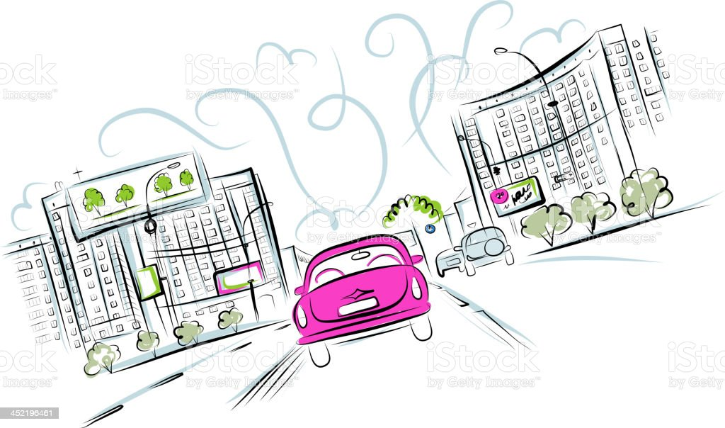 Pink car on the city road for your design royalty-free stock vector art