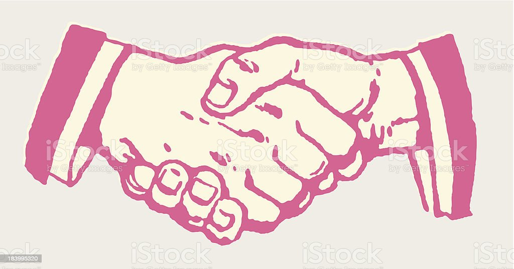 Pink Cartoon close-up of handshake vector art illustration