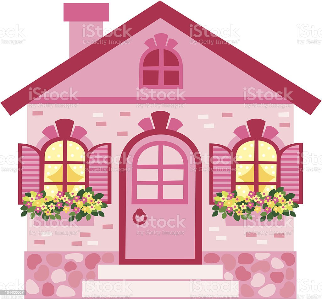 2d pink cartoon house with flowers stock vector art more images of 2 d pink cartoon house with flowers royalty free 2d pink cartoon house with mightylinksfo
