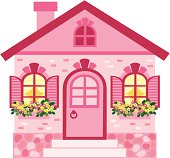2-D Pink cartoon house with flowers