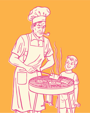 Man and Boy Grilling Meat