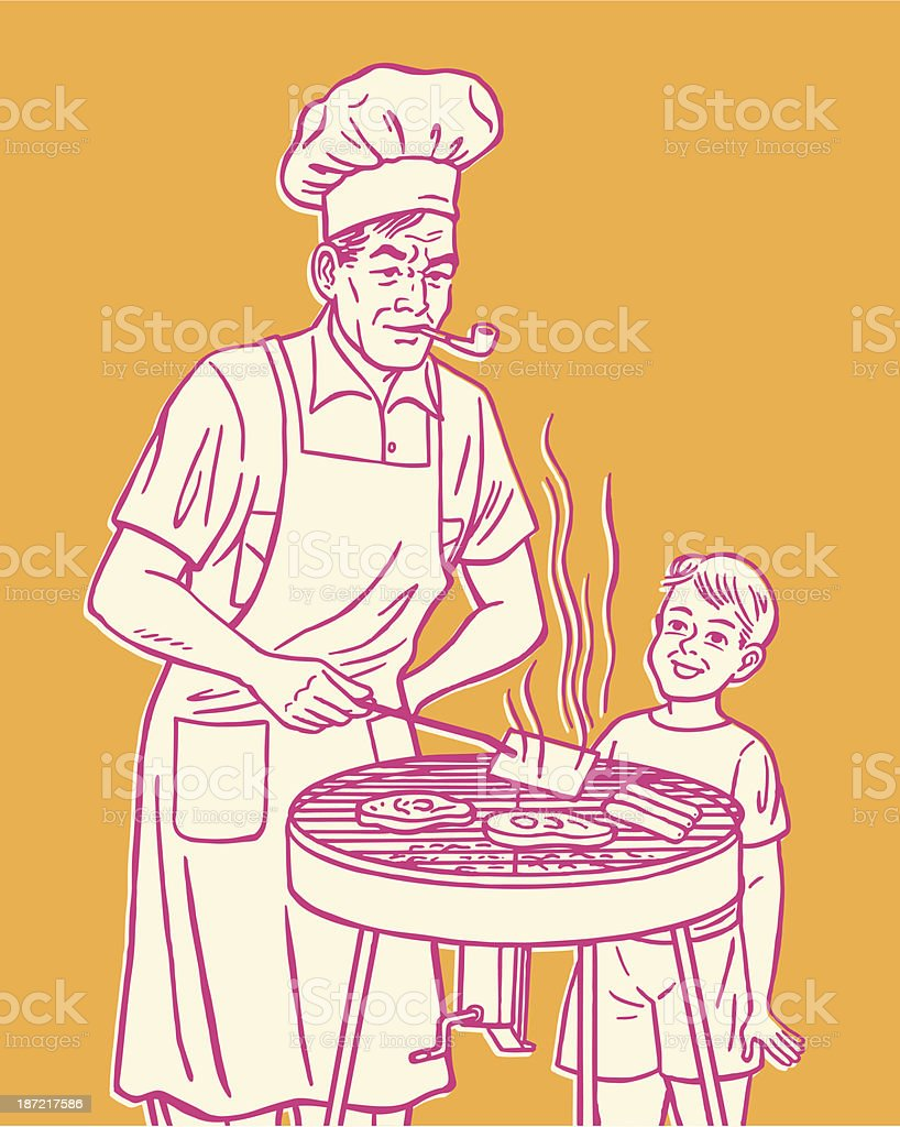 Pink cartoon of man & boy grilling meat on orange background vector art illustration