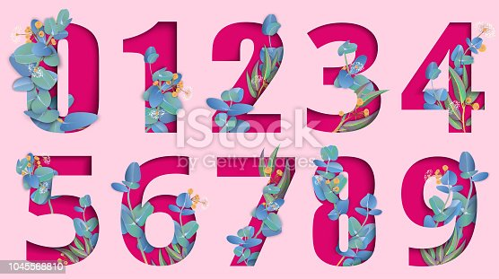 istock Pink carved paper isolated numeral signs with eucalyptus. 1045568810