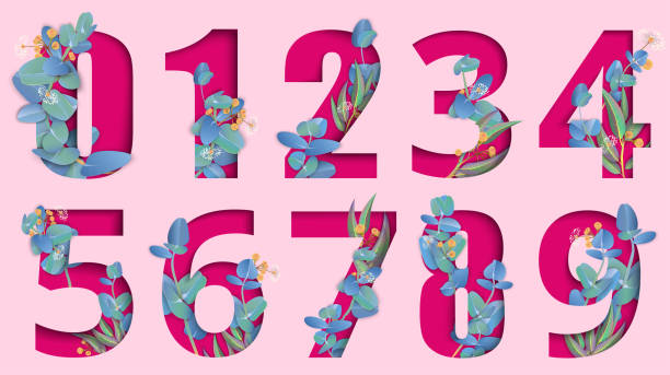 분홍색 조각된 종이 절연 유칼립투스 숫자 표지판. - 금융 수치 stock illustrations