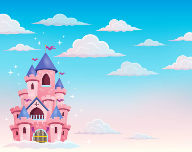 pink castle in clouds theme 1 - castle stock illustrations