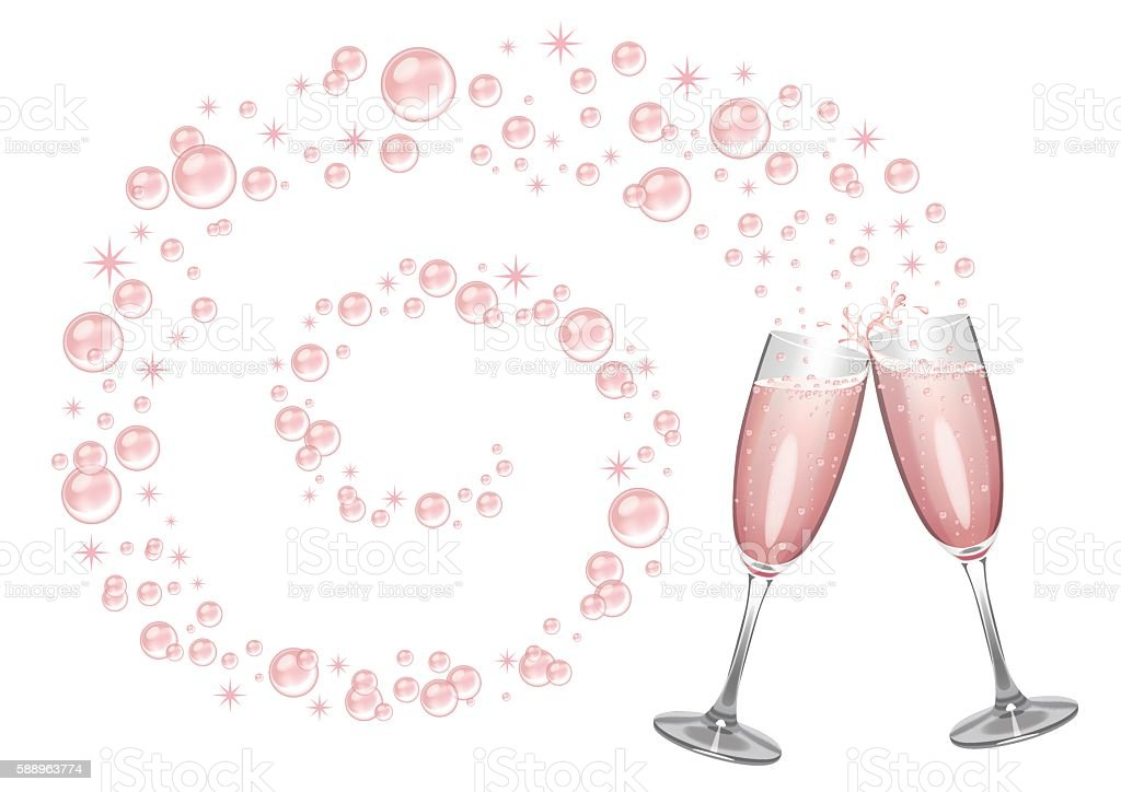 Pink Champagne Background vector art illustration